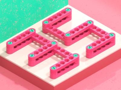 Turning 35 type legos isometric green pink redshift cinema4d c4d technic lego illustration 3d