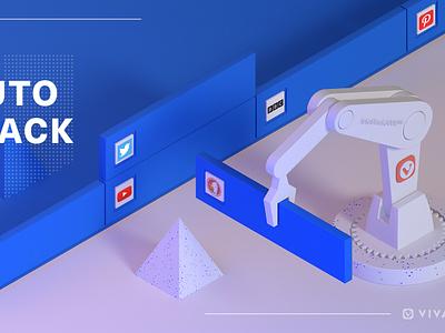 Automatic Tab Stacking Machine white blue robotics robot cinema4d c4d illustration gif loop animation browser 3d vivaldi