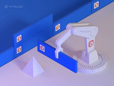 Automatic Tab Stacking Machine white blue robotics robot cinema4d c4d illustration gif loop animation browser 3d vivaldi