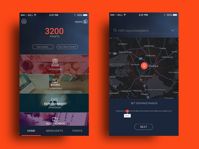 Lifestyle app concept dark theme mobile app ios ux ui homescreen