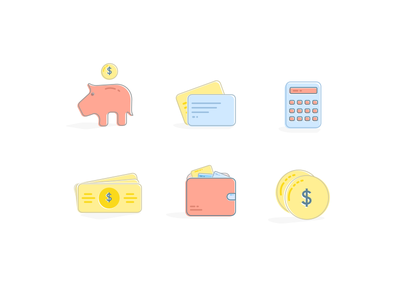 Payment Icons pastels illustrations flat icons banks payment iconography