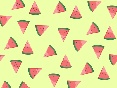 Love for some Melons flat colors print pattern illustration