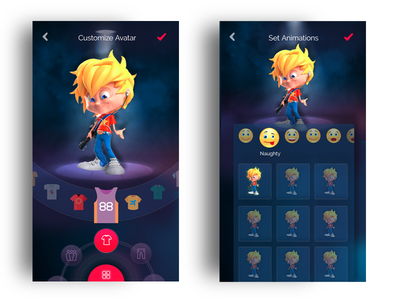 Create your Avatar mobile app ux ui dark theme futuristic augment reality 3d animation avatar