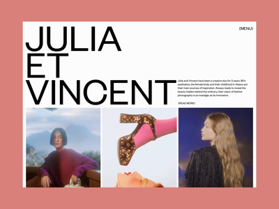 Julia Et Vincent, Page transitions page layout concept hover video after effects ae site motion design motion animation editorial magazine photography website art direction art ux typography ui design