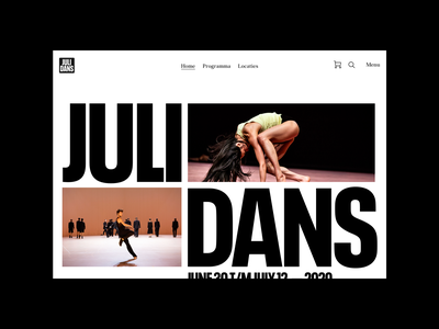 Julidans 2020 Festival, Homepage layout type digital magazine photography art direction art ux ui typography design editorial site website grid festival julidans