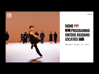 Julidans 2020 Festival, Menu festival menu navigation site digital layout contemporary julidans dance photography editorial website art direction art ux ui typography design