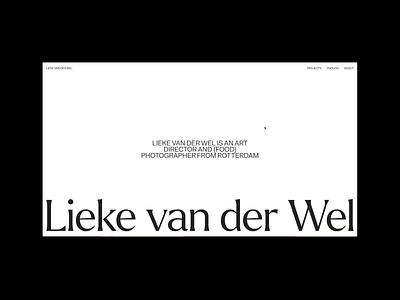 Lieke van der Wel portfolio folio photographer photos type site website digital logo branding photography editorial art direction art typography design