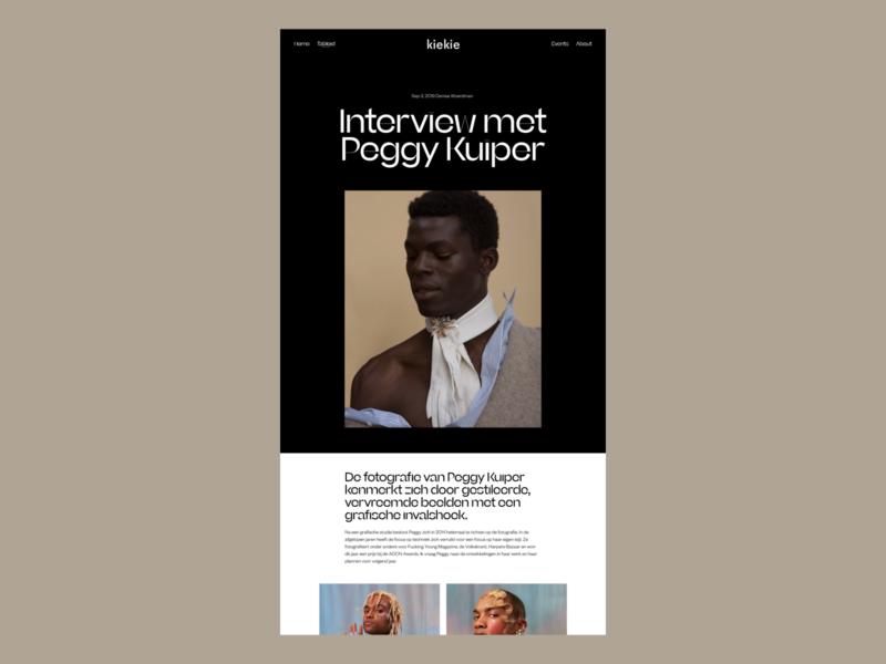 Kiekie, Interview website interview tabloid magazine photography art art direction ux ui typography news editorial design