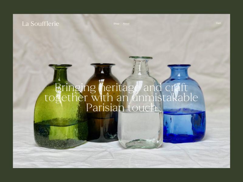 La Soufflerie web design website concept teaser webshop glass photography editorial art direction ux art typography ui design site about ecommerce shop website concept
