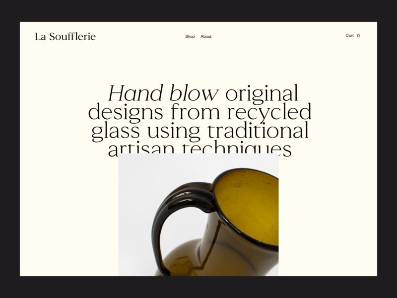 La Soufflerie, Type soufflerie artisan glass layers layout digital photography website editorial art direction art ux typography ui design