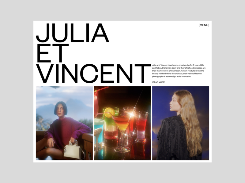 Julia Et Vincent, Portfolio concept concepts portfolio site magazine photography editorial website art direction art ux typography ui design concept