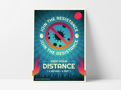 Join The Resistance: Keep Your Distance coronavirus covid-19 poster illustration