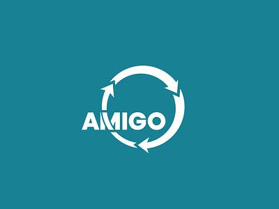 Amigo Technology three-step cycle branding illustrator brand logo
