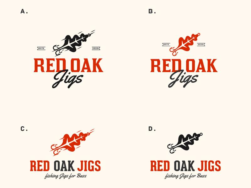 Red Oak Jigs jigs fishing logo fishing leaf logo oak leaf oak