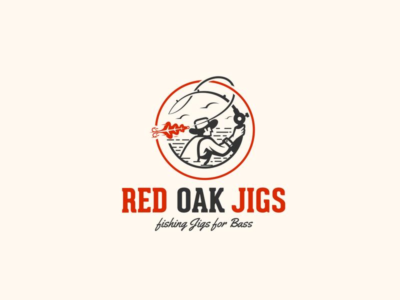 Red Oak Jigs fishing logo jigs fisherman fishing oak leaf oak