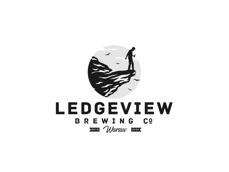 Ledgeview Brewing ledger brewing sky birds man rock logo mountain logo beer logo