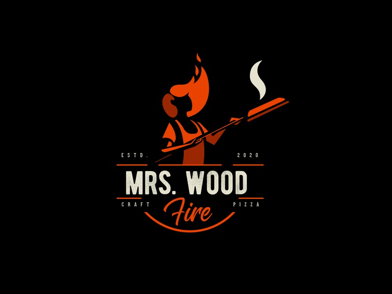 Mrs Wood Fire fire logo hair logo women logo pizza logo pizza logodesign