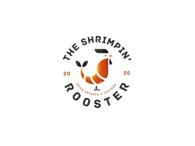 The Shrimpin' Rooster seafood logo rooster logo rooster shrimp logo shrimp