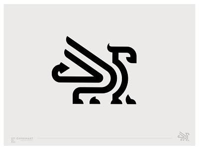 Gryphon logo concept animal logo line logo wings logo gryphon logo
