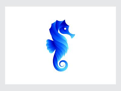 Seahorse blue purple blue gradient seahorse logo seahorse