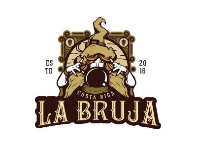 La Bruja logo woman drawing magic witch