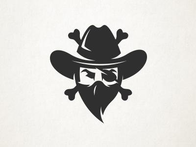 Cowboy Pirate logo bandit bones eye patch cowboy hat pirate cowboy