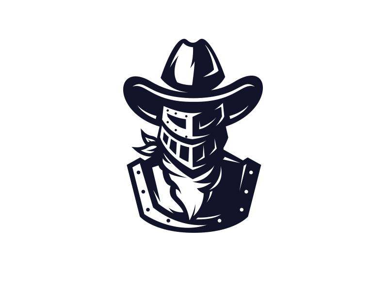 Knighted Cowboy logo knight armor western cowboy hat cowboy