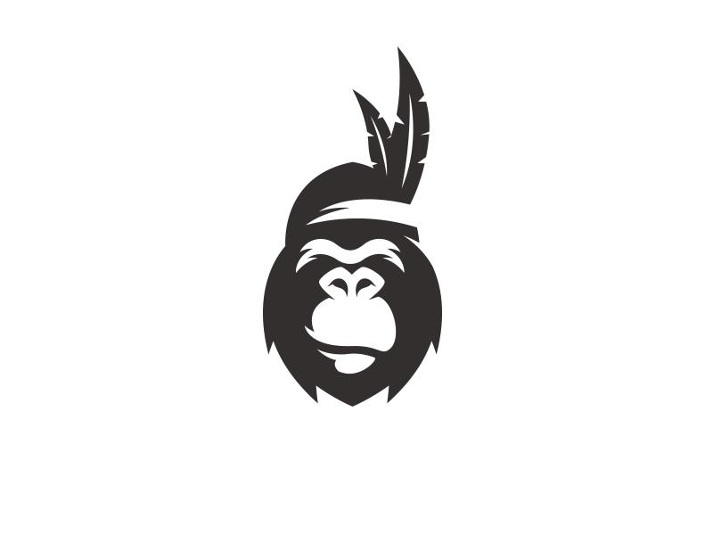 Indian Gorilla feather indian wild logo animal gorilla