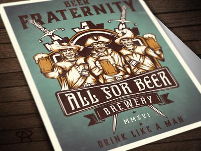 Beer Fraternity sword musketeers castle fraternity poster beer