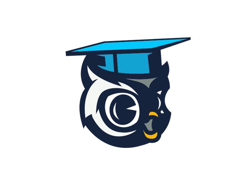 Study Owl student hat cartoon logo bird owl