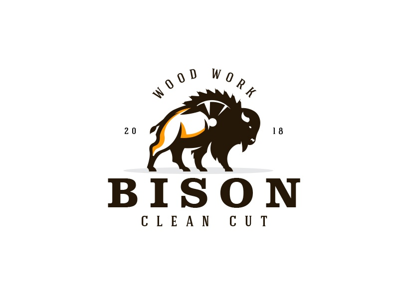 Bison Clean Cut chainsaw saw logo design logo animal bison