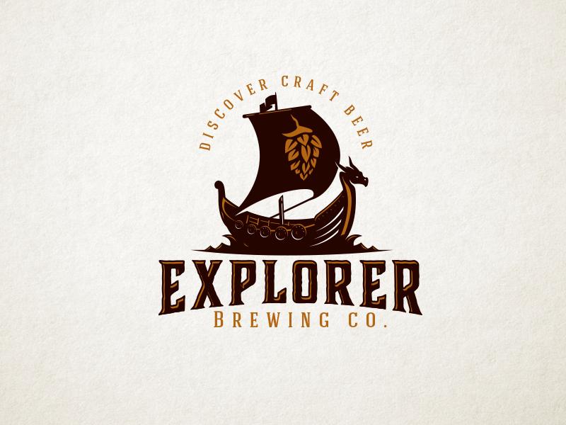 Explorer logo craft beer explorer viking ship viking ship hop beer