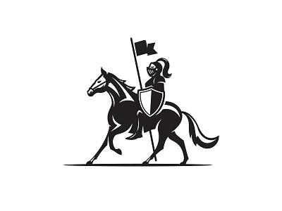 Knight armor flag logo design logo shield horse knight