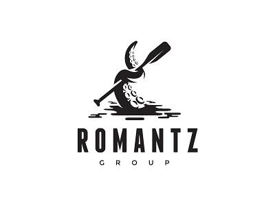 Romantz Group simple octopus paddle water tentacle logo design logo