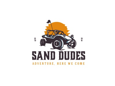 Sand Dudes desert sun car buggy vector illustration logo adventure sand