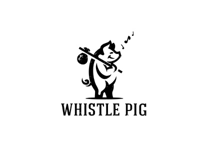 Whistle Pig singing animal happy whistler whistle pig logo pig