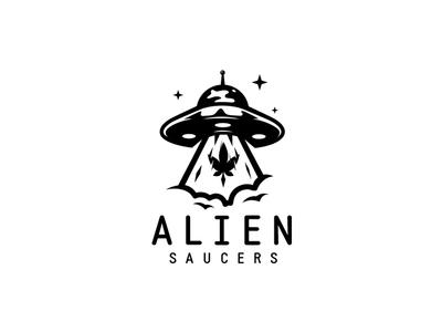 Alien saucers ufo clouds cannabis leaf sky stars saucers alien