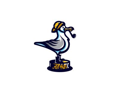 Seagull bird logo wings wood seagull bird