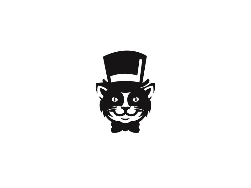 gordo boss animal logo top hat whiskers cat logo cat