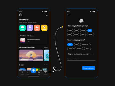 Meditation App UI Concept meditation illustration design app ui uxdesign uiuxdesign