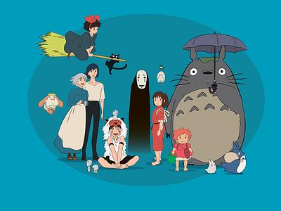 Studio Ghibli Characters mononoke spirited away totoro anime hayao miyazaki ghibli illustration