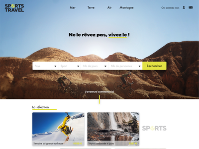 School project Webdesign Homepage travel sport website creation redesign
