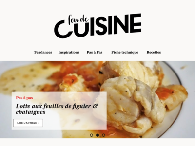 """Design of a french food magazine """"Fou de Cuisine"""" font typo french food ux design redesign"""