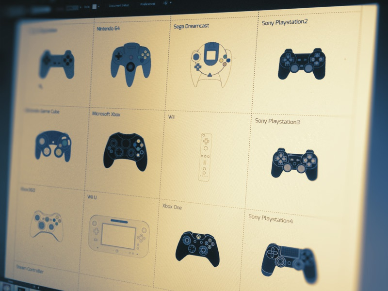 Controllers Sheet vector video game infographic illustration icons