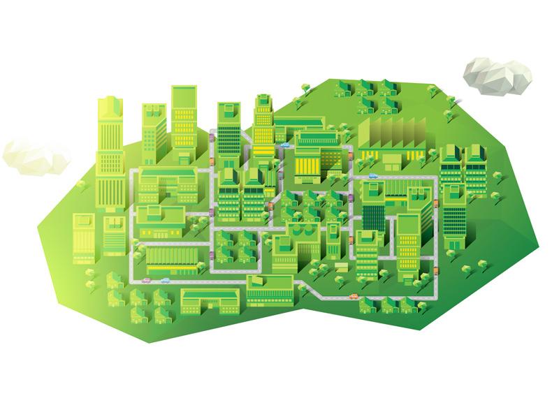 Cityscape vector illustration infographic