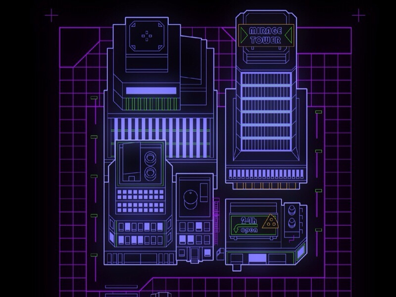80's inspired tech map vector illustration map infographic games icons