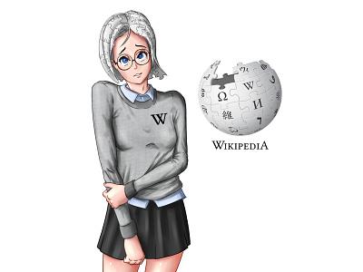 Wikipedia chan branding fan art anthropomorphism design digital art anime art character design illustration