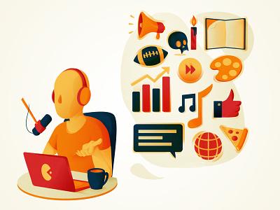 Podcast illustration vector illustration concept design concept art podcast podcast art flat design design artist illustration