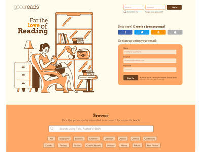 Goodreads Landing Page Redesign typography ux branding vector redesign goodreads website design interaction design landing page ui landing page design landing page illustration ui