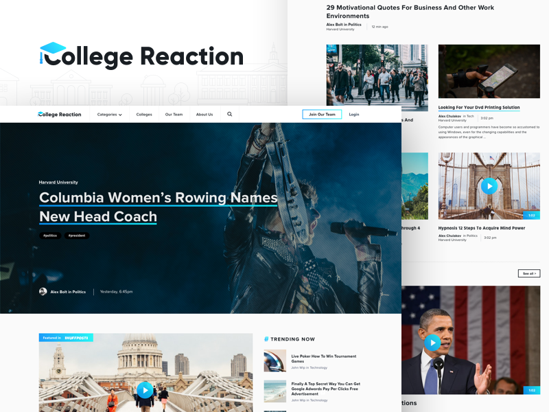 College Reaction News Portal webdesign college icon illustration ux ui portal website blog news